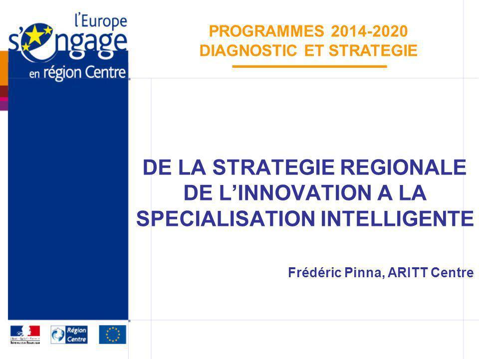 De la SRI à la spécialisation intelligente Programmes 2014 – 2020 RAPPEL DES FAITS Début des travaux pour élaborer une Stratégie régionale de linnovation en mi-2007 Mise en place du CSRI et de la CRI SRI adoptée en juin 2009 3 axes – 2 thématiques transversales Déclinée par un plan de 11 actions 1 ère évaluation de la CE en 2010