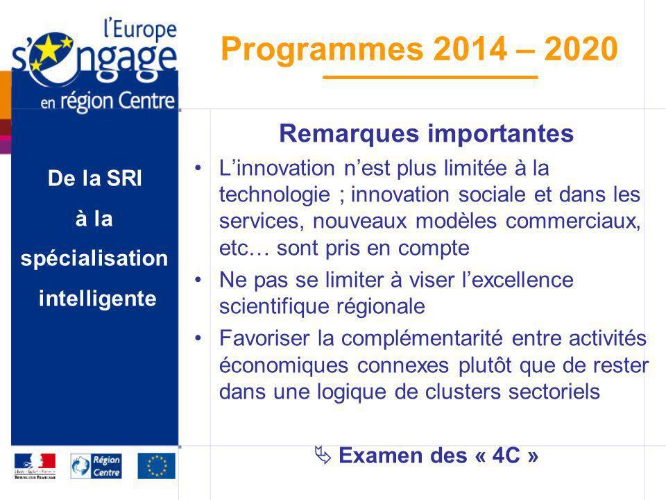 De la SRI à la spécialisation intelligente Programmes 2014 – 2020 Remarques importantes Linnovation nest plus limitée à la technologie ; innovation so