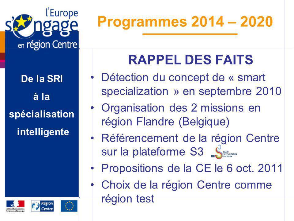 De la SRI à la spécialisation intelligente Programmes 2014 – 2020 RAPPEL DES FAITS Détection du concept de « smart specialization » en septembre 2010
