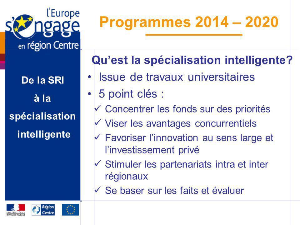 De la SRI à la spécialisation intelligente Programmes 2014 – 2020 Quest la spécialisation intelligente? Issue de travaux universitaires 5 point clés :