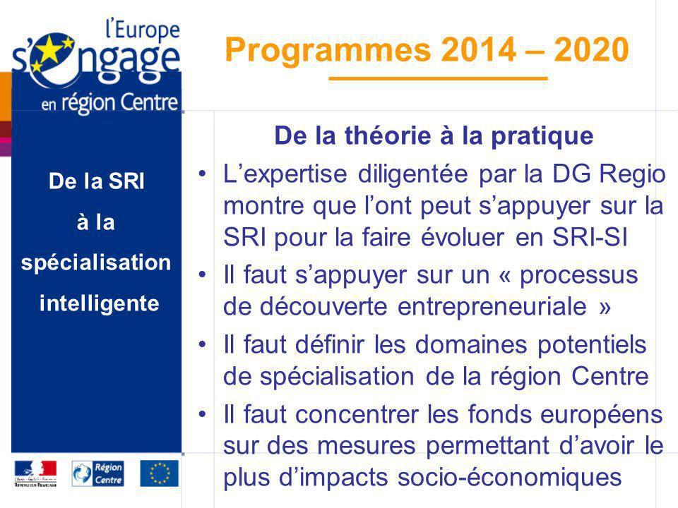 De la SRI à la spécialisation intelligente Programmes 2014 – 2020 De la théorie à la pratique Lexpertise diligentée par la DG Regio montre que lont pe