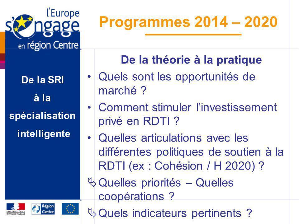 De la SRI à la spécialisation intelligente Programmes 2014 – 2020 De la théorie à la pratique Quels sont les opportunités de marché ? Comment stimuler