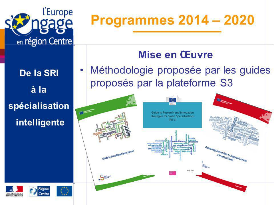 De la SRI à la spécialisation intelligente Programmes 2014 – 2020 Mise en Œuvre Méthodologie proposée par les guides proposés par la plateforme S3
