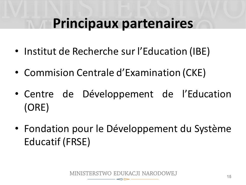 Principaux partenaires Institut de Recherche sur lEducation (IBE) Commision Centrale dExamination (CKE) Centre de Développement de lEducation (ORE) Fo