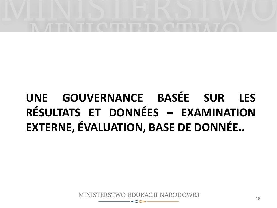 UNE GOUVERNANCE BASÉE SUR LES RÉSULTATS ET DONNÉES – EXAMINATION EXTERNE, ÉVALUATION, BASE DE DONNÉE.. 19