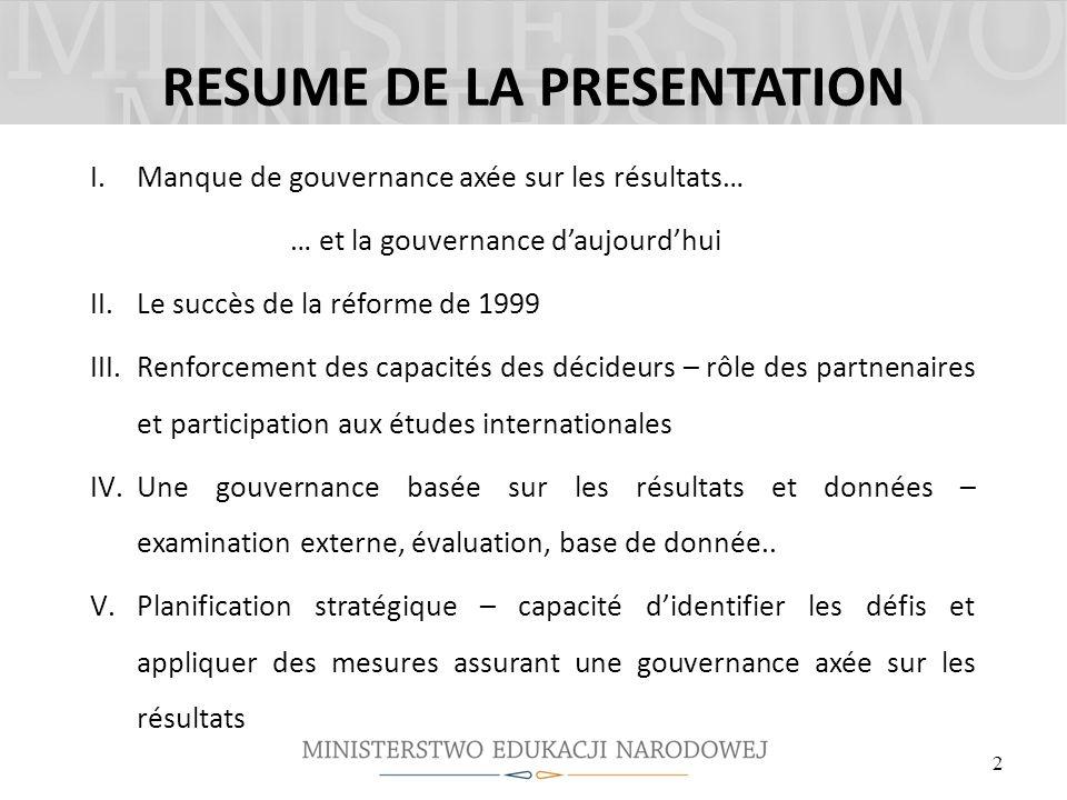 RESUME DE LA PRESENTATION I.Manque de gouvernance axée sur les résultats… … et la gouvernance daujourdhui II.Le succès de la réforme de 1999 III.Renfo