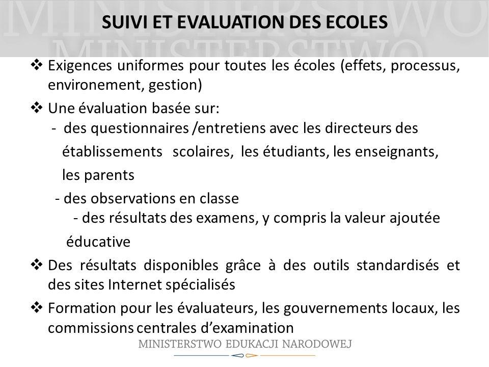 SUIVI ET EVALUATION DES ECOLES Exigences uniformes pour toutes les écoles (effets, processus, environement, gestion) Une évaluation basée sur: - des q