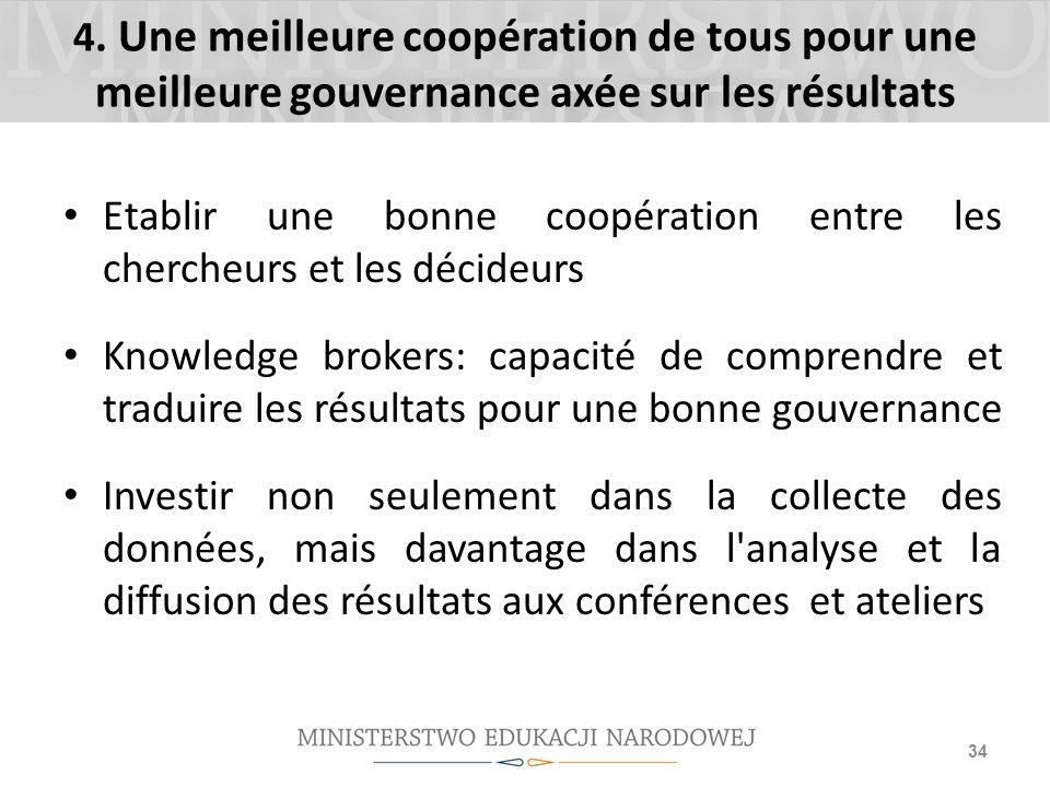 4. Une meilleure coopération de tous pour une meilleure gouvernance axée sur les résultats Etablir une bonne coopération entre les chercheurs et les d