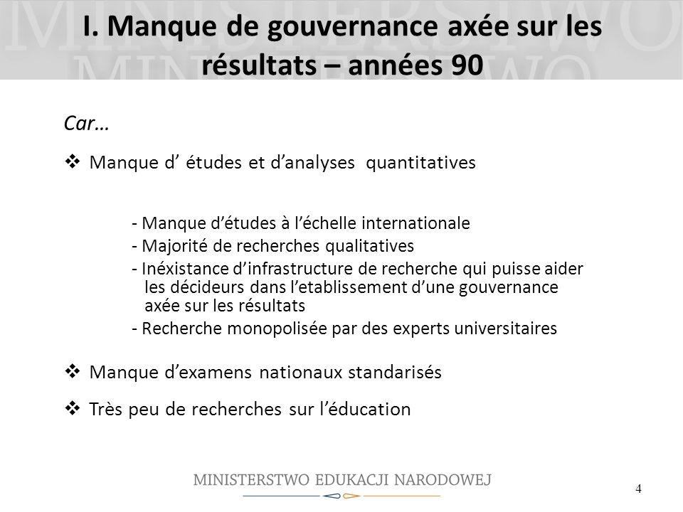 I. Manque de gouvernance axée sur les résultats – années 90 Car… Manque d études et danalyses quantitatives - Manque détudes à léchelle internationale