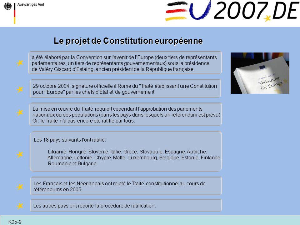 Le projet de Constitution européenne a été élaboré par la Convention sur l'avenir de l'Europe (deux tiers de représentants parlementaires, un tiers de