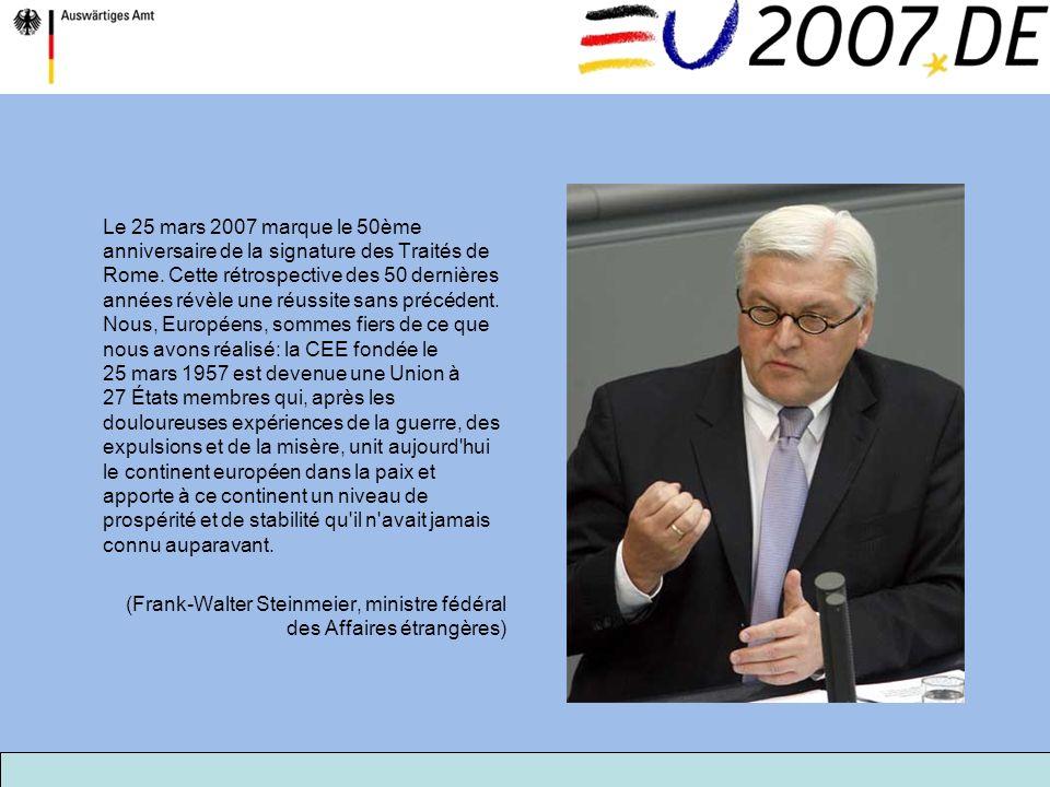 Le 25 mars 2007 marque le 50ème anniversaire de la signature des Traités de Rome. Cette rétrospective des 50 dernières années révèle une réussite sans
