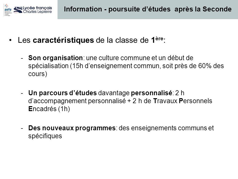 Les caractéristiques de la classe de 1 ère : -Son organisation: une culture commune et un début de spécialisation (15h denseignement commun, soit près