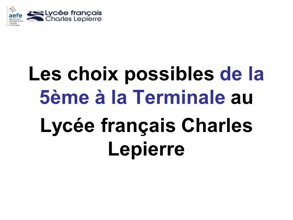 Les choix possibles de la 5ème à la Terminale au Lycée français Charles Lepierre