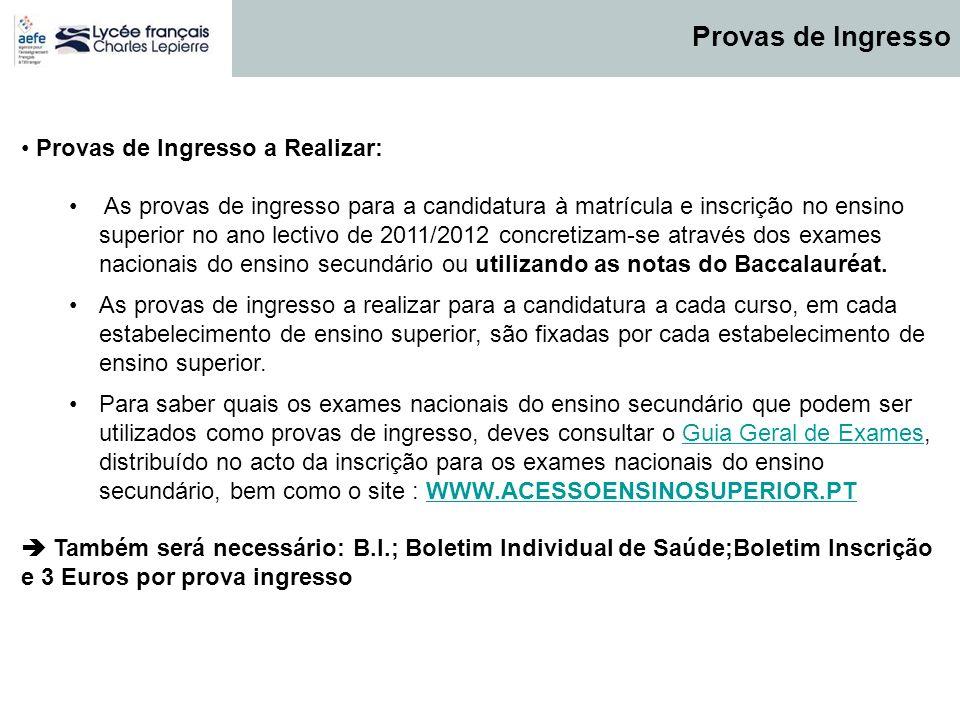 Provas de Ingresso a Realizar: As provas de ingresso para a candidatura à matrícula e inscrição no ensino superior no ano lectivo de 2011/2012 concret