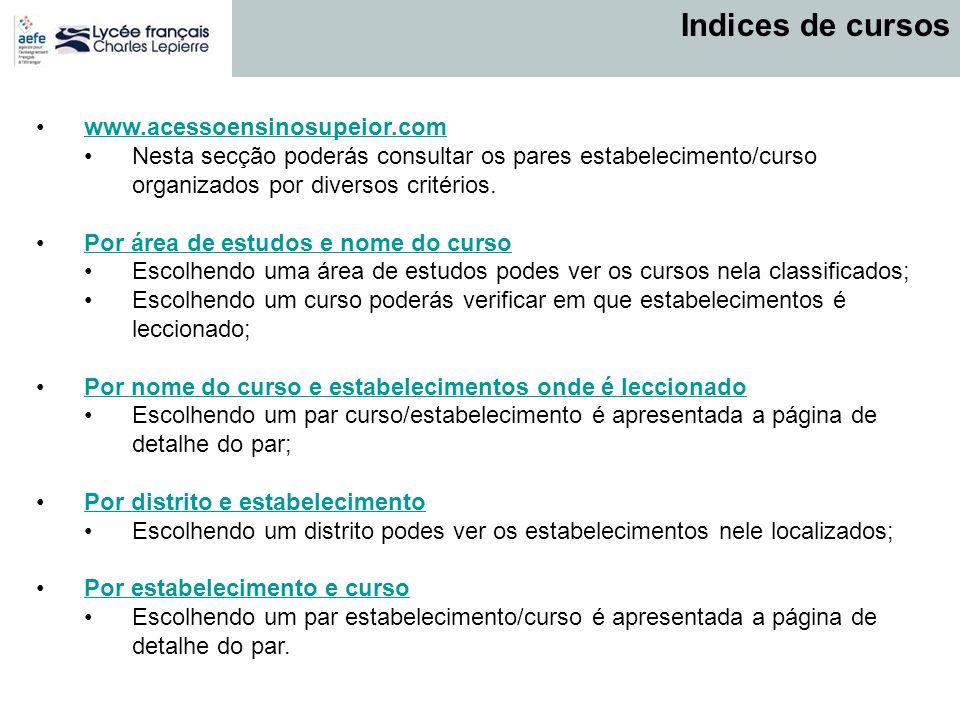www.acessoensinosupeior.com Nesta secção poderás consultar os pares estabelecimento/curso organizados por diversos critérios. Por área de estudos e no