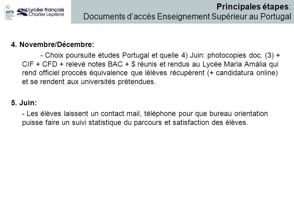 4. Novembre/Décembre: - Choix poursuite études Portugal et quelle 4) Juin: photocopies doc. (3) + CIF + CFD + relevé notes BAC + $ réunis et rendus au