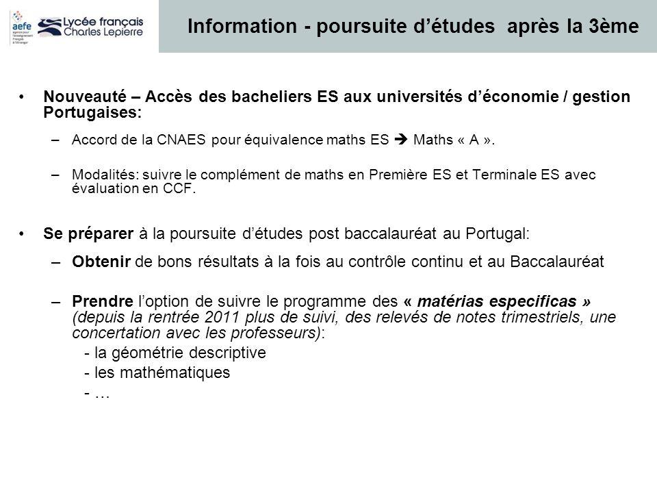 Nouveauté – Accès des bacheliers ES aux universités déconomie / gestion Portugaises: –Accord de la CNAES pour équivalence maths ES Maths « A ». –Modal
