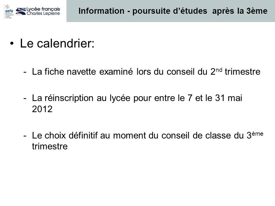 Le calendrier: -La fiche navette examiné lors du conseil du 2 nd trimestre -La réinscription au lycée pour entre le 7 et le 31 mai 2012 -Le choix défi