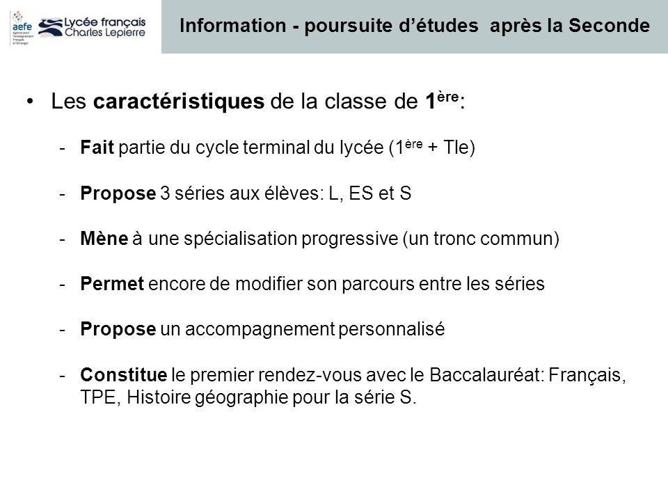 Les caractéristiques de la classe de 1 ère : -Fait partie du cycle terminal du lycée (1 ère + Tle) -Propose 3 séries aux élèves: L, ES et S -Mène à un