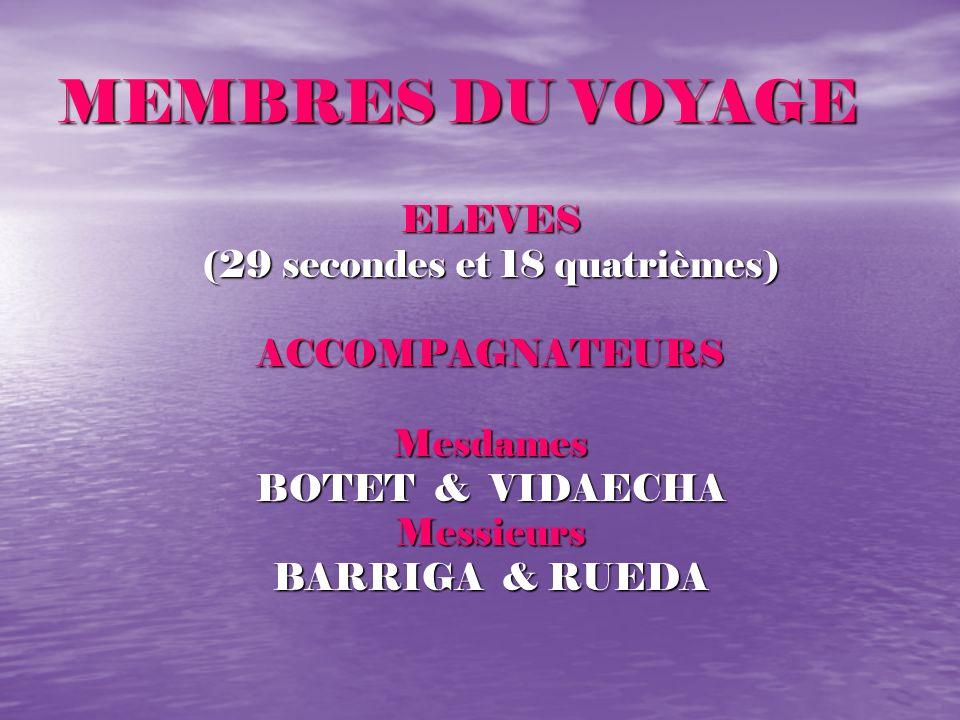 MEMBRES DU VOYAGE ELEVES (29 secondes et 18 quatrièmes) ACCOMPAGNATEURSMesdames BOTET & VIDAECHA Messieurs BARRIGA & RUEDA