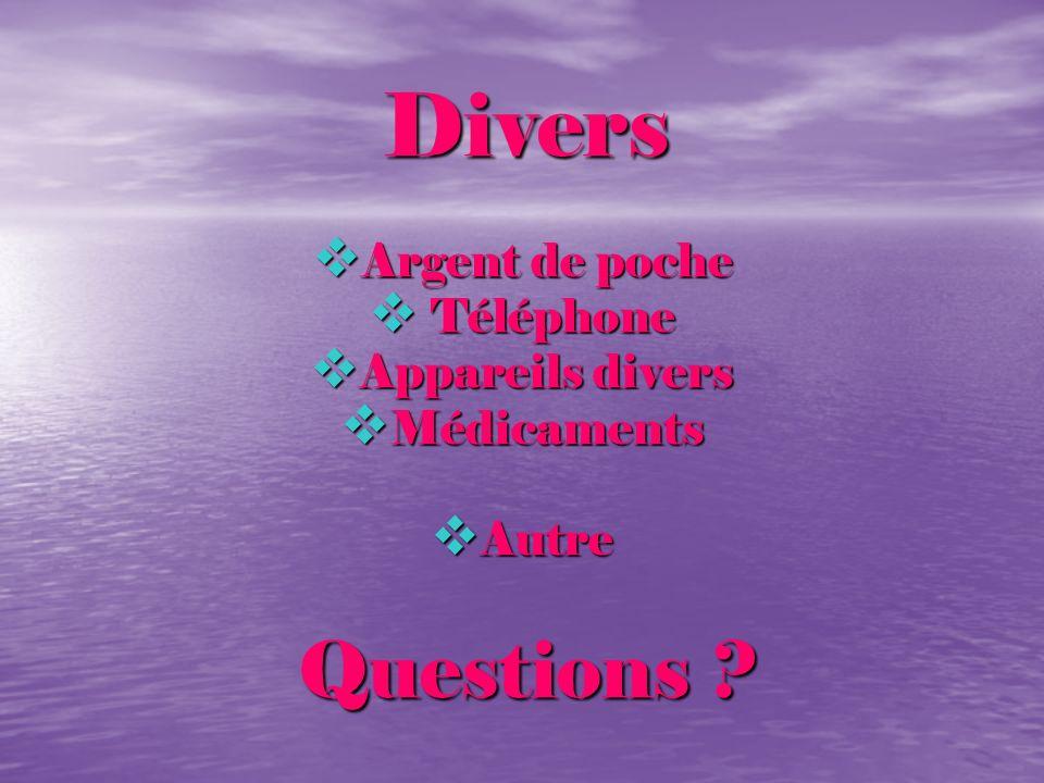Divers Divers Argent de poche Argent de poche Téléphone Téléphone Appareils divers Appareils divers Médicaments Médicaments Autre Autre Questions ? Qu