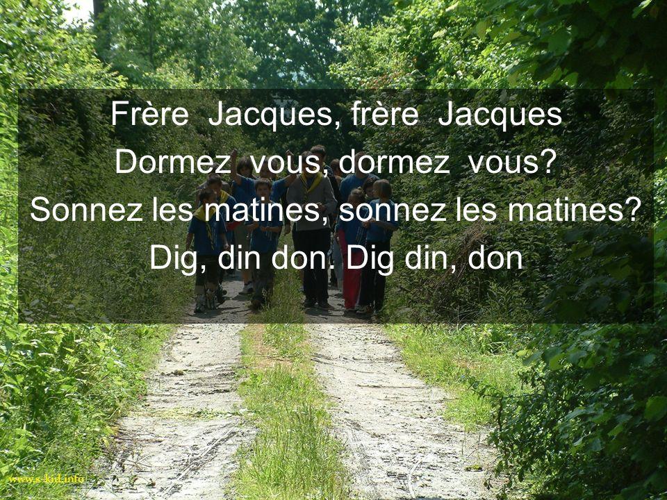 Frère Jacques, frère Jacques Dormez vous, dormez vous? Sonnez les matines, sonnez les matines? Dig, din don. Dig din, don