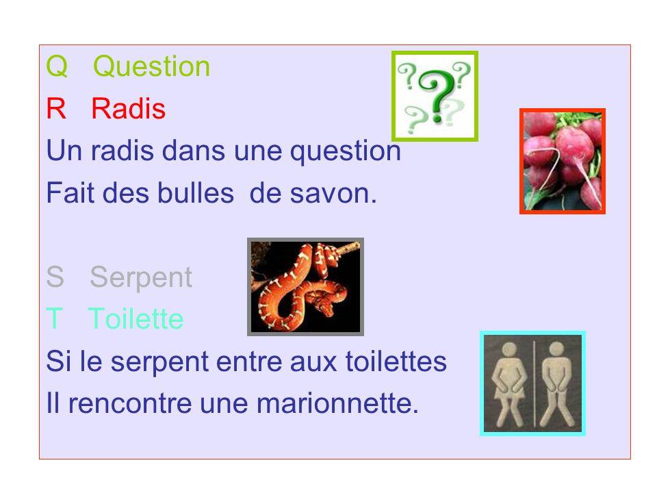 Q Question R Radis Un radis dans une question Fait des bulles de savon.
