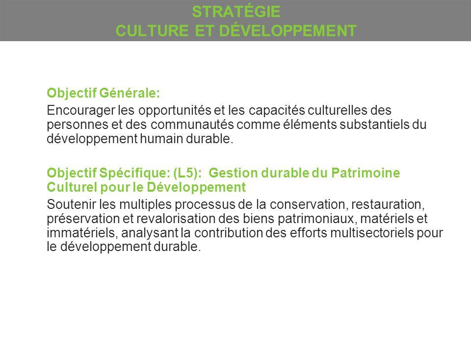 STRATÉGIE CULTURE ET DÉVELOPPEMENT Objectif Générale: Encourager les opportunités et les capacités culturelles des personnes et des communautés comme