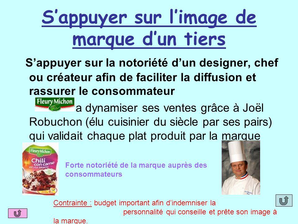 Sappuyer sur limage de marque dun tiers Sappuyer sur la notoriété dun designer, chef ou créateur afin de faciliter la diffusion et rassurer le consomm