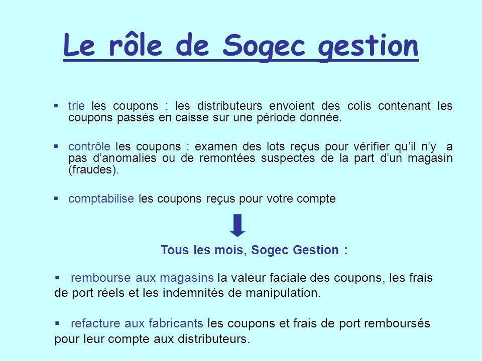 Le rôle de Sogec gestion trie les coupons : les distributeurs envoient des colis contenant les coupons passés en caisse sur une période donnée. contrô
