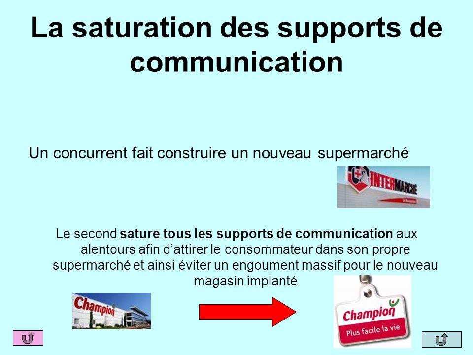 La saturation des supports de communication Un concurrent fait construire un nouveau supermarché Le second sature tous les supports de communication a