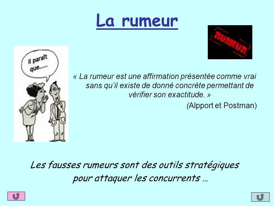 La rumeur « La rumeur est une affirmation présentée comme vrai sans quil existe de donné concrète permettant de vérifier son exactitude. » (Alpport et