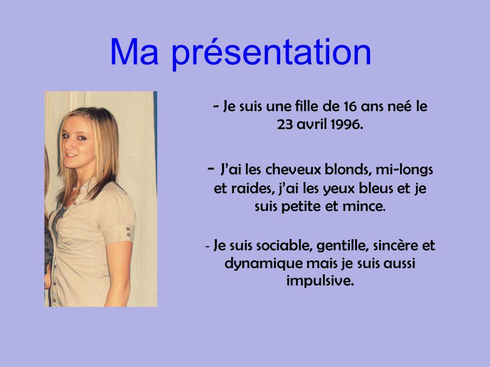 Ma présentation - Je suis une fille de 16 ans neé le 23 avril 1996. - Jai les cheveux blonds, mi-longs et raides, jai les yeux bleus et je suis petite