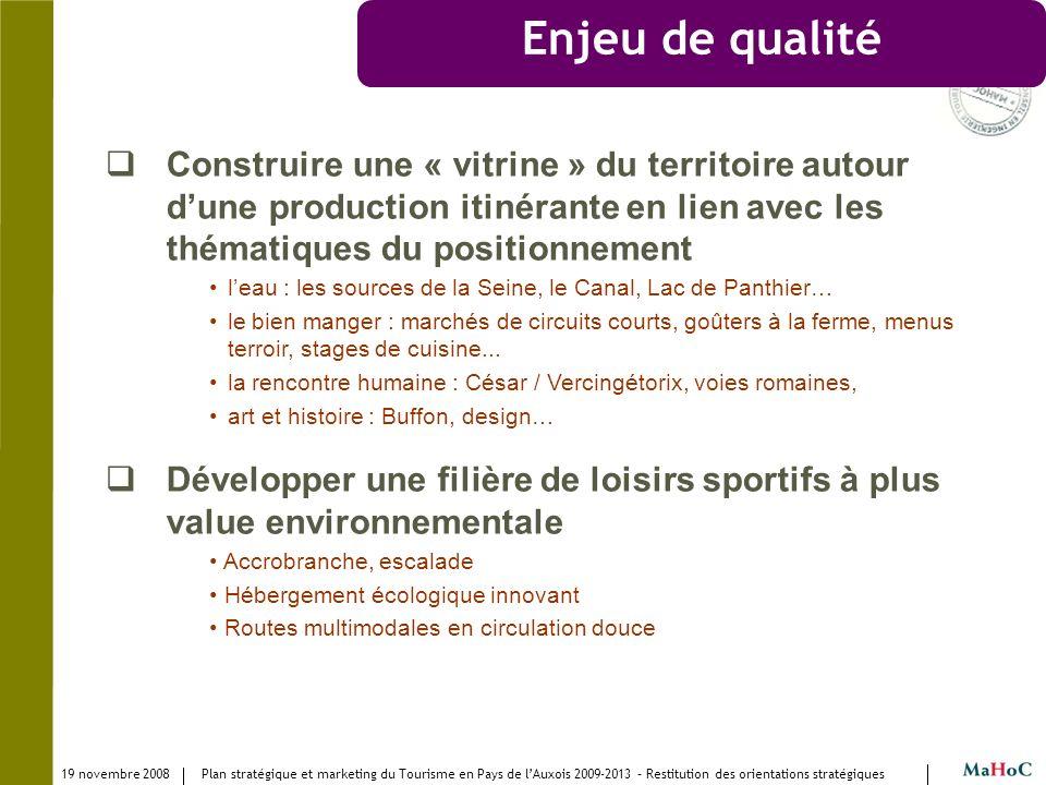 19 novembre 2008 Plan stratégique et marketing du Tourisme en Pays de lAuxois 2009-2013 – Restitution des orientations stratégiques Enjeu de qualité C