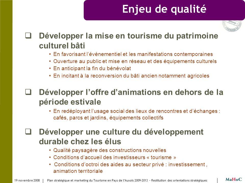 19 novembre 2008 Plan stratégique et marketing du Tourisme en Pays de lAuxois 2009-2013 – Restitution des orientations stratégiques Enjeu de qualité D