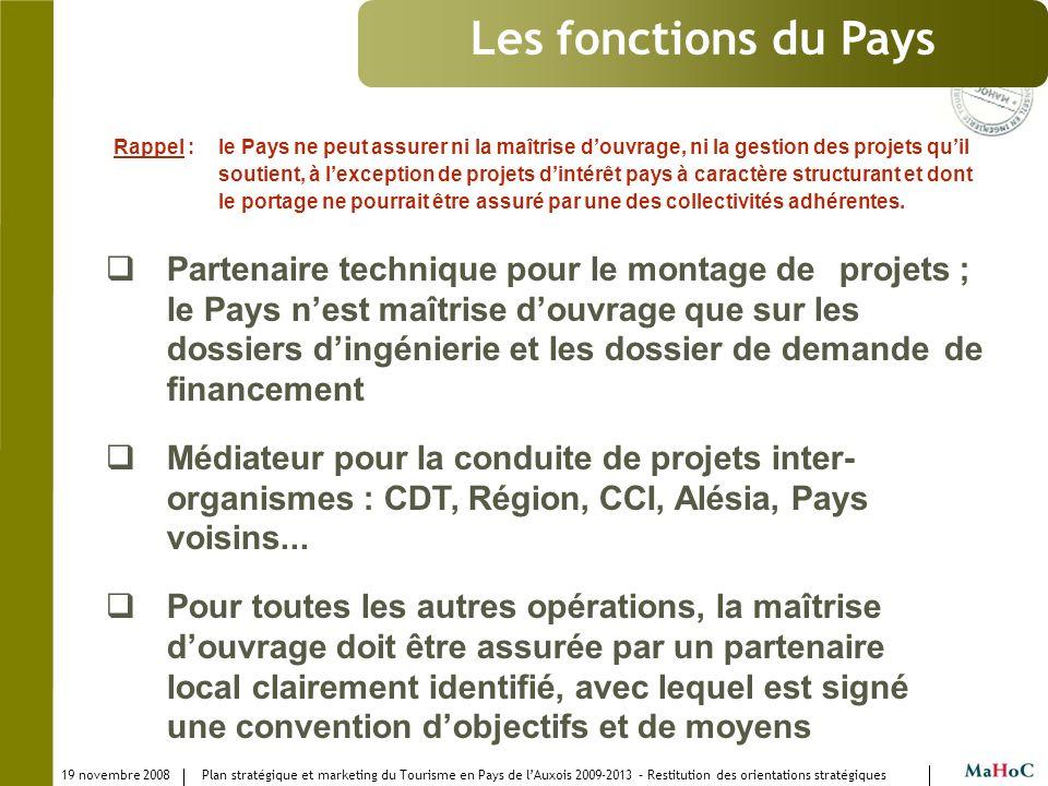 19 novembre 2008 Plan stratégique et marketing du Tourisme en Pays de lAuxois 2009-2013 – Restitution des orientations stratégiques Les fonctions du P