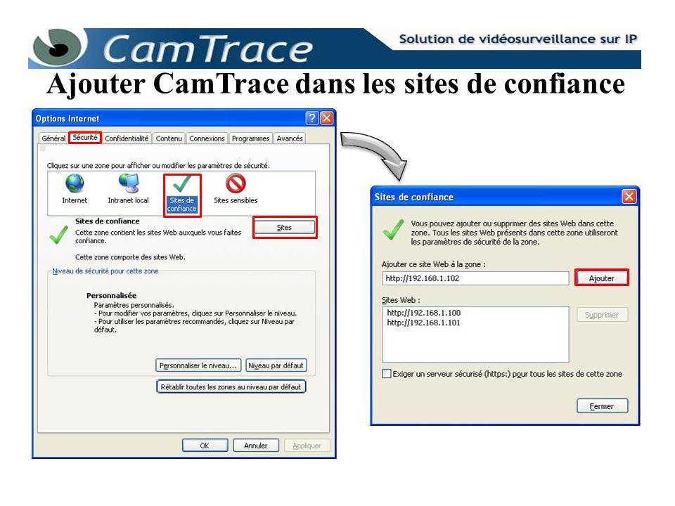 Les paramétrages à effectuer sur le CamTrace : Se connecter sur l interface web d administration puis cliquez sur serveurs.