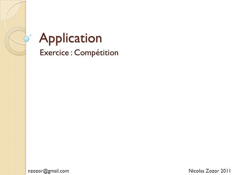 Application Exercice : Compétition Nicolas Zozor 2011nzozor@gmail.com
