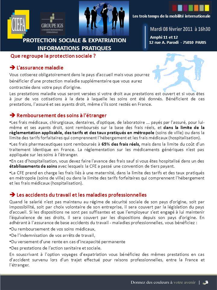 Les trois temps de la mobilité internationale Amphi 11 et 12 12 rue A.