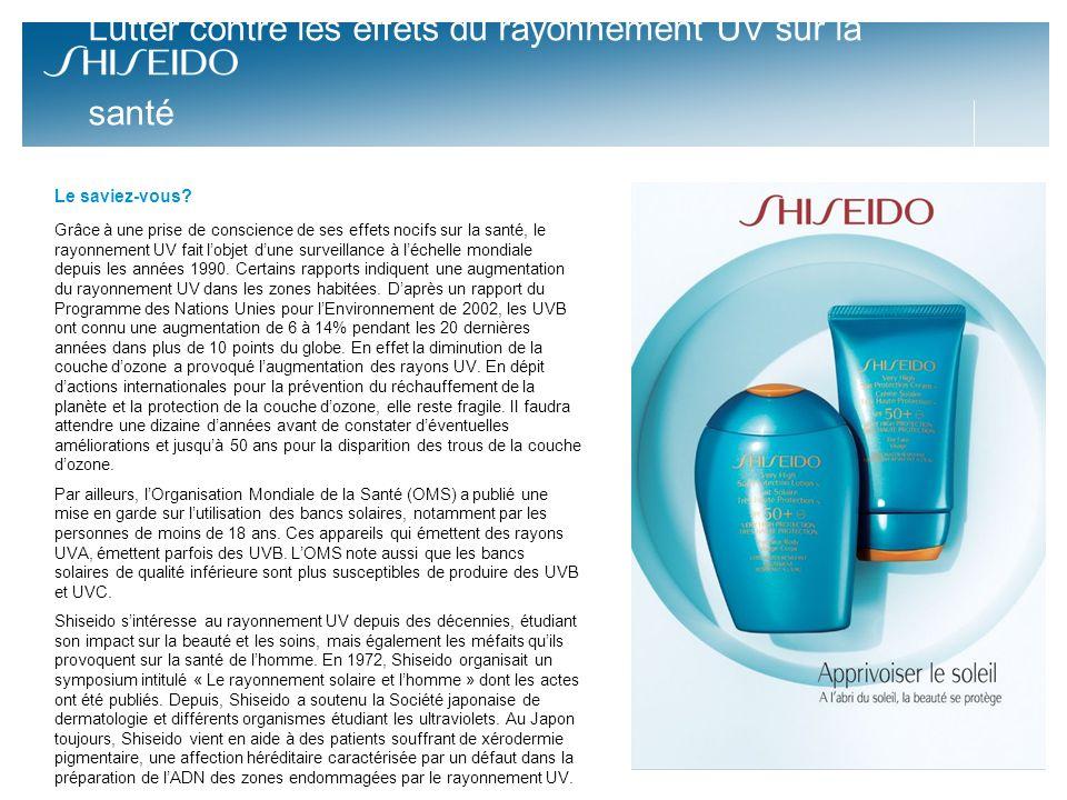 Les soins solaires Shiseido Avec les soins solaires Shiseido assurent une protection renforcée face aux UVA-UVB responsables du vieillissement de la peau et des dommages sur lADN*.