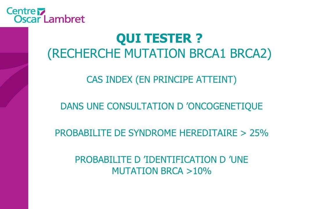 QUI TESTER ? (RECHERCHE MUTATION BRCA1 BRCA2) CAS INDEX (EN PRINCIPE ATTEINT) DANS UNE CONSULTATION D ONCOGENETIQUE PROBABILITE DE SYNDROME HEREDITAIR