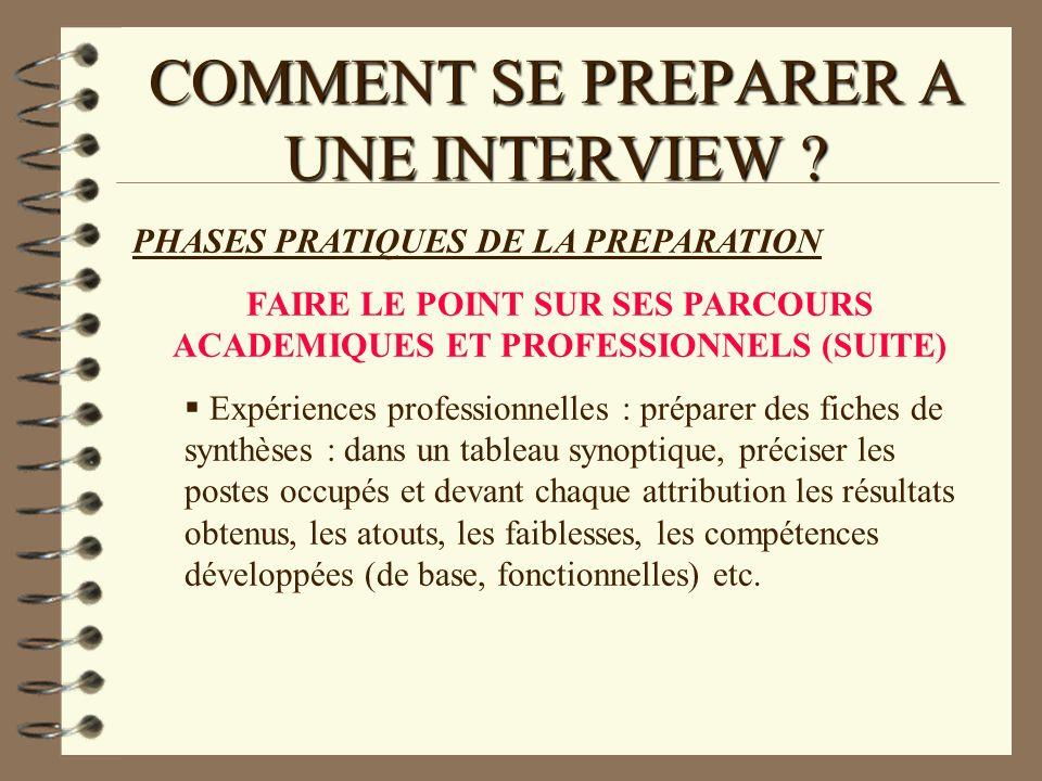 COMMENT SE PREPARER A UNE INTERVIEW ? PHASES PRATIQUES DE LA PREPARATION FAIRE LE POINT SUR SES PARCOURS ACADEMIQUES ET PROFESSIONNELS (SUITE) Expérie