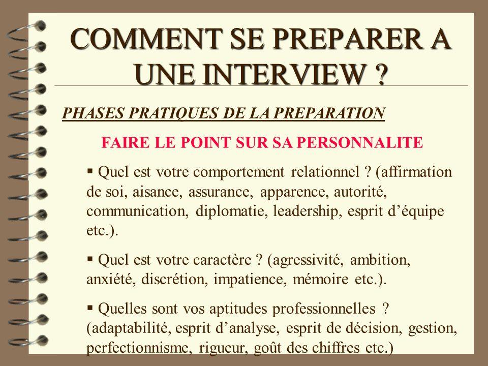 COMMENT SE PREPARER A UNE INTERVIEW ? PHASES PRATIQUES DE LA PREPARATION FAIRE LE POINT SUR SA PERSONNALITE Quel est votre comportement relationnel ?