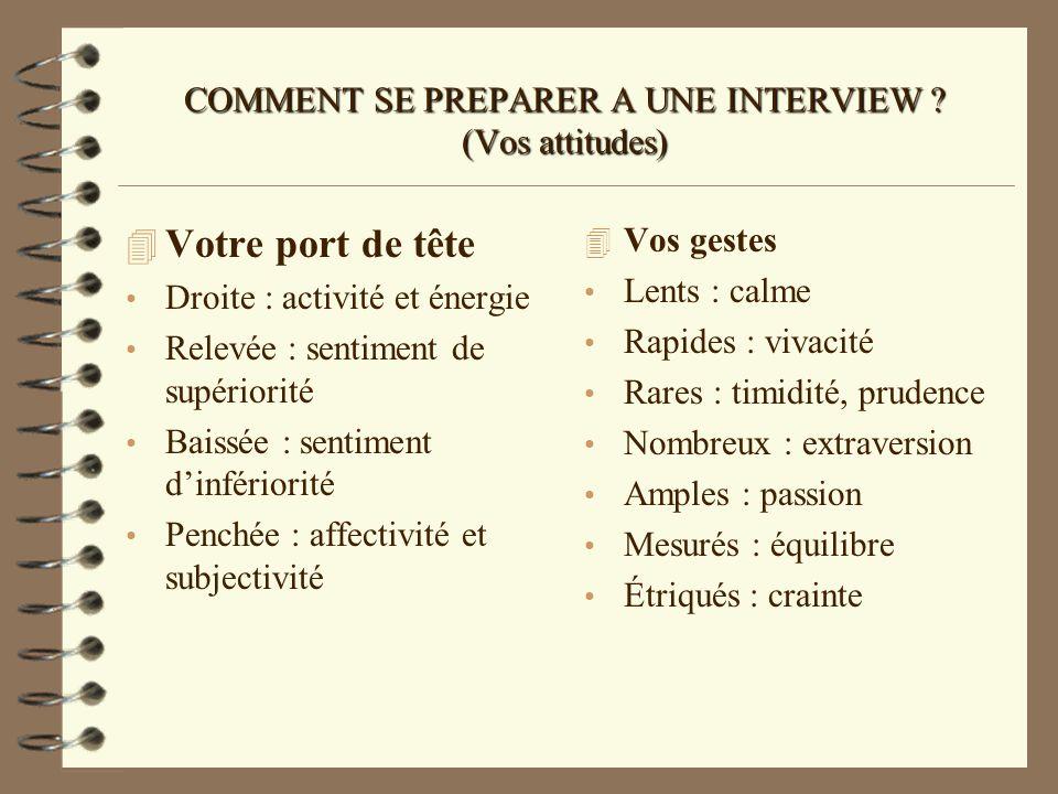 COMMENT SE PREPARER A UNE INTERVIEW ? (Vos attitudes) 4 Votre port de tête Droite : activité et énergie Relevée : sentiment de supériorité Baissée : s
