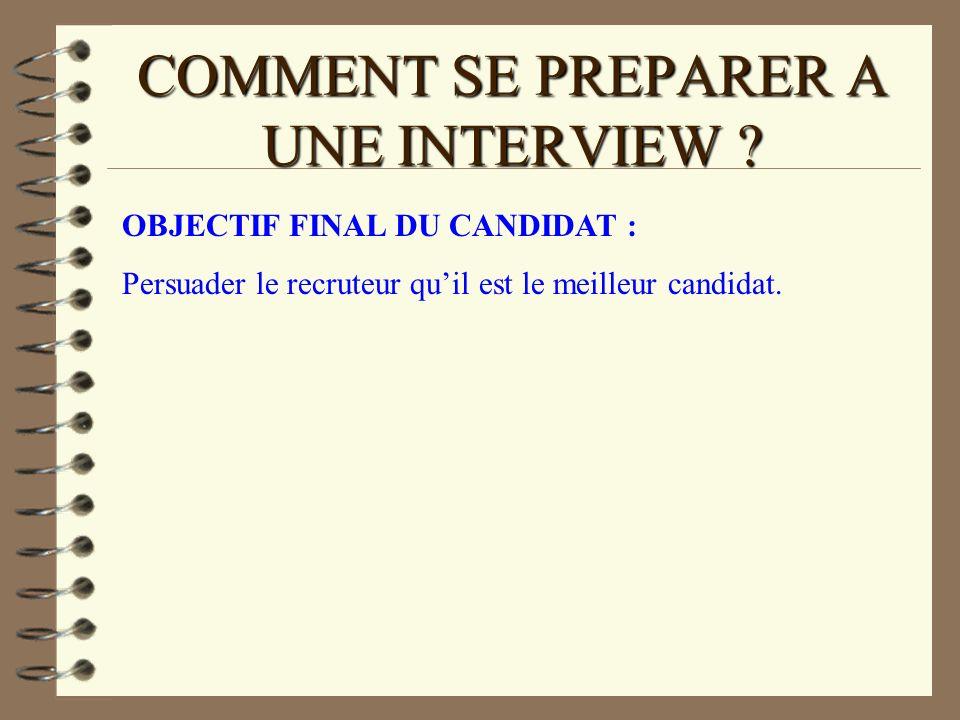 COMMENT SE PREPARER A UNE INTERVIEW ? OBJECTIF FINAL DU CANDIDAT : Persuader le recruteur quil est le meilleur candidat.