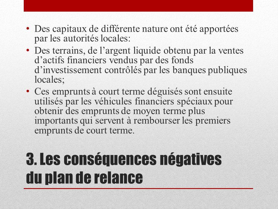 3. Les conséquences négatives du plan de relance Des capitaux de différente nature ont été apportées par les autorités locales: Des terrains, de large