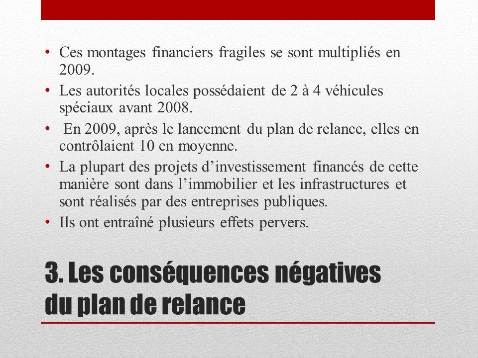 3. Les conséquences négatives du plan de relance Ces montages financiers fragiles se sont multipliés en 2009. Les autorités locales possédaient de 2 à