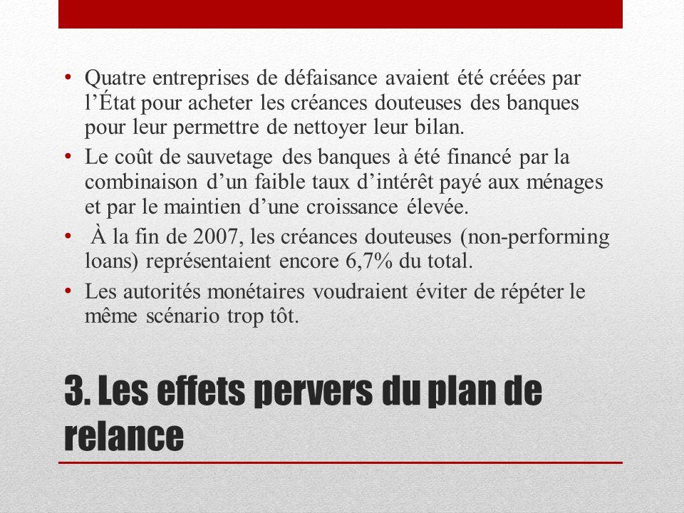3. Les effets pervers du plan de relance Quatre entreprises de défaisance avaient été créées par lÉtat pour acheter les créances douteuses des banques