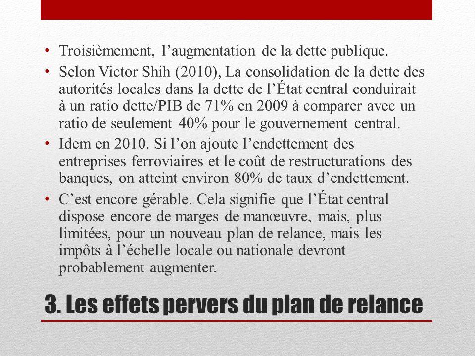3. Les effets pervers du plan de relance Troisièmement, laugmentation de la dette publique. Selon Victor Shih (2010), La consolidation de la dette des