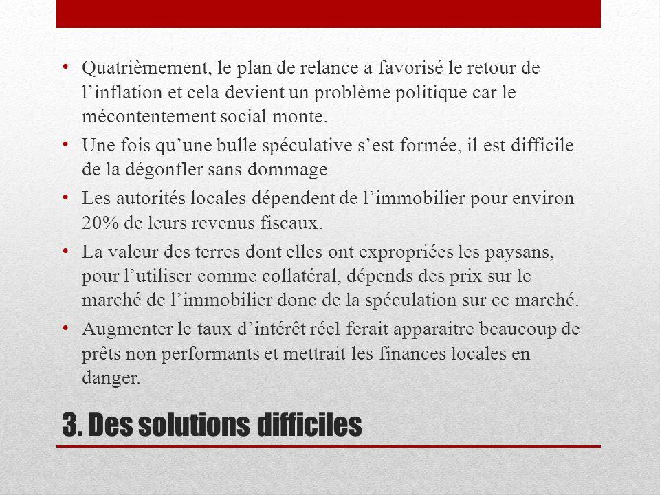 3. Des solutions difficiles Quatrièmement, le plan de relance a favorisé le retour de linflation et cela devient un problème politique car le méconten